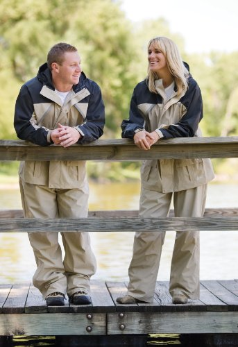 Fishing Clothing. If you understand the weather forecast, you will understand ways to be prepared for any curve balls the weather condition throws you. Coleman .20mm PVC/Nylon Rain Suit,Black/Tan,Medium #fishing