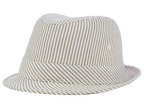 - Novelty Now Striped Seersucker Fedora S/M White