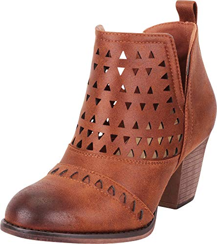 Cambridge Select Women's Distressed Laser Cutout Stacked High Heel Ankle Bootie,7 B(M) US,Tan PU ()