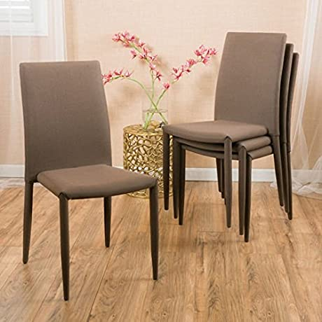 NEW Christopher Knight Home Comstock Fabric Stackable Dining Chair Set Of 4