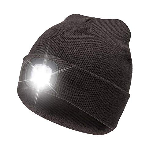 AONAN USB Rechargeable LED Beanie Cap, Lighting and Flashing Alarm Modes Ultra Bright 4 LED Hands Free Flashlight Unisex Winter Warmer Knit Cap Hat (Coffee)