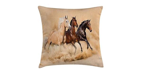 RAINNY Horses Throw Pillow Cushion Cover, Three Horse ...