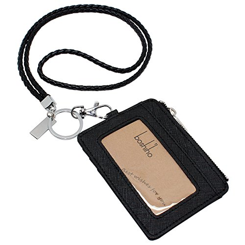 Boshiho Saffiano Leather Badge Holder ID Card Holder Coin Change Purse with Keychain Lanyard (Black with ()