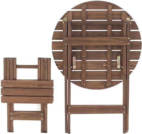 KSW_KKW Mesa Plegable Redonda portátiles y sillas de la terraza del jardín Café Mesa Redonda de Centro de Madera Tabla Inicio (类别 Category : Chairs+Tables): Amazon.es: Hogar