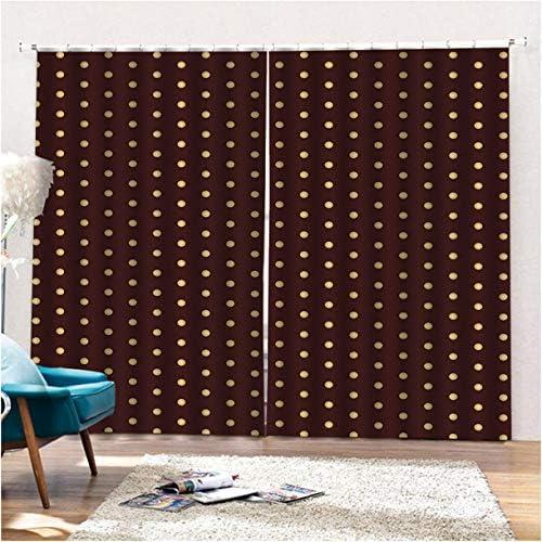 QinKingstore ブラウンイエローウェーブポイントスタイリッシュな170×200センチウィンドウカーテン用ホームキッチンリビングルームベッドルームウィンドウ装飾
