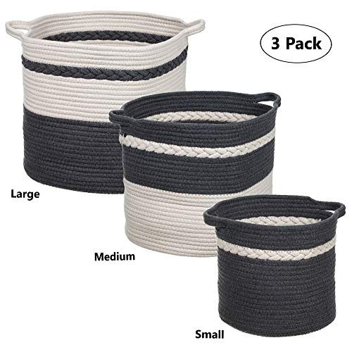 (Shopaholics From Home 3 Pack Set Cotton Rope Laundry Basket Hamper with Braid Decorative Baby Nursery Kids Storage, Toys, Clothes, Blankets, Organize (Dark)