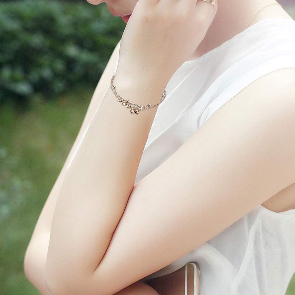 JewelryWe Schmuck Damen Armband Fu/ßkettchen Edelstahl Chinesische M/ünzen Reichtum Gl/öckchen Kugel Charmsarmband Armkette Fu/ßkette verstellbar Rosegold//Silber