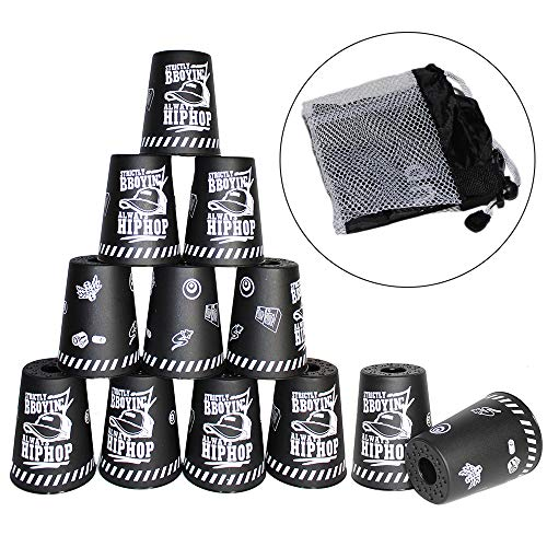 Quick Stacks Cups, 12 PC of Sports Stacking Cups Speed Training Game (Graffiti Black) by SWAMV
