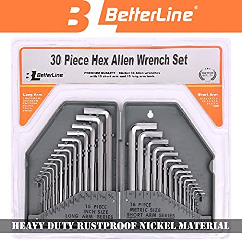 Heavy Duty Rustproof 30-Piece Hex Key Allen Wrench Set by Better Line - 15 Long Arm (Inches) and 15 Short Arm (Metric) Allen Keys - Durable Nickel Metal (Grey) - Comes in Strong Plastic - Arm Hex Key