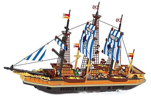 857 Series (Ausini 27806 Building Blocks Set for Kids with mini figure Pirate Series Building Bricks Corsair Swordfish Ship 857 pieces Compatible simple package without original box)