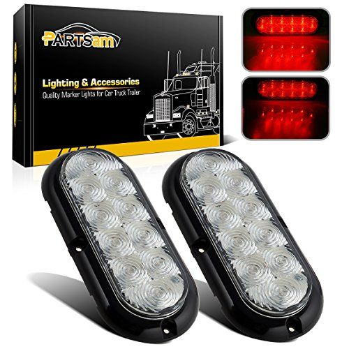 (Partsam 2Pcs 6 Inch Oval Led Trailer Tail Lights 10 Red Diodes Clear Lens Flange Mount, Sealed 6