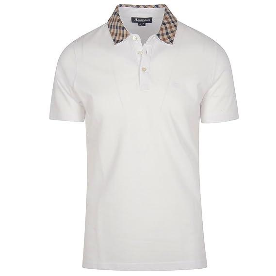 2a3943be2 Aquascutum Men`s Nathan Housecheck Collar Polo Shirt - White (Large)   Amazon.co.uk  Clothing