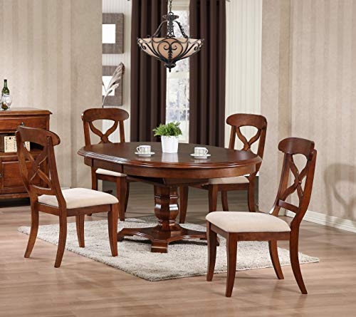 Sunset Trading DLU-ADW4866-C12-CT5PC Andrews Dining Table Set, Distressed chestnut finish