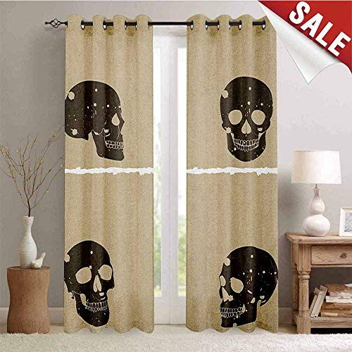 Hengshu Grunge Thermal Insulating Blackout Curtain Skull Figure on Murky Flat Framework Halloween Crossbones Spooky Monster Image Blackout Draperies for Bedroom W72 x L108 Inch Tan Dark Taupe -