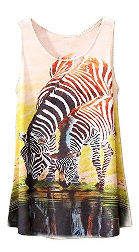 KaiTingu Vintage Women's Zebra Print Sleeveless Vest Tank Tops White (Print Tank Zebra Top)