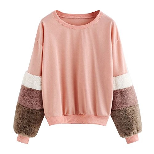 Womens Tops Sweatshirt, Faux Fur Sleeve Crew Neck Long Sleeves Drop Shoulder Oversize Pullover (Pink, M) (Drop Shoulder Wool Blend)