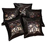 5Pcs-100Pcs Amazing India Banarasi Silk Traditional Elephant Design Black Cushion Covers Wholesale Lot