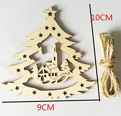 Lingdun Creative Hobbies Unfinished Wooden Christmas Ornaments , Ready to Paint or Decorate,One pack of 5(Christmas tree house)