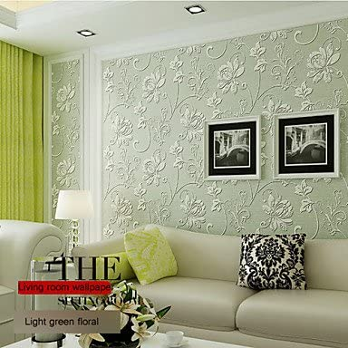Qw Classical Wallpaper Floral Super Heavy 3d Flower Designs Light Green Color Wall Covering Non Woven Paper Wall Art Amazon Co Uk Kitchen Home