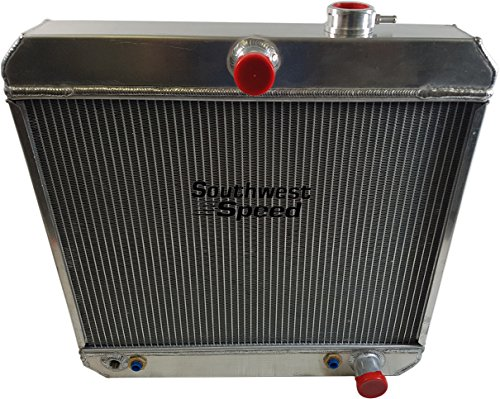 NEW 55-57 CHEVY ALUMINUM DOWNFLOW RADIATOR WITH BUILT-IN TRANSMISSION COOLER, DUAL CORE 2 ROW TIG WELDED, 23 1/4