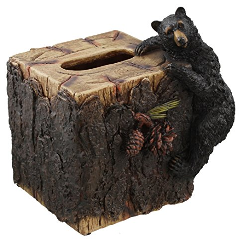 Decorative Black Bear / Pinecone Rustic Square Tissue Box Cover by Colors of Rainbow