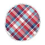 KESS InHouse Original White Plaid Blue Red Pattern Digital Round Beach Towel Blanket