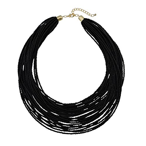 Bocar Multi Layer Chunky Bib Statement Seed Beads Cluster Collar Necklace for Women Gift - Necklace Black Bead Fashion