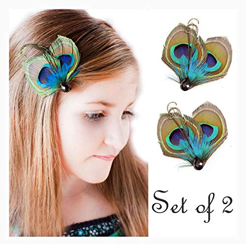 Set of 2 Butterfly Peacock Feather Hair Clip, Feather Hair Pins, Wedding Feather Fascinator, Bridesmaid Gift Peacock Accessory -
