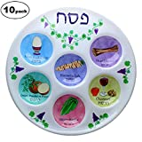 Disposable Plastic Seder Plate for Passover (Pack of 10)