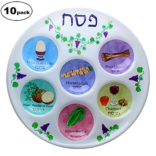 Disposable Plastic Seder Plate for Passover (Pack of 10) (Judaica Plate)