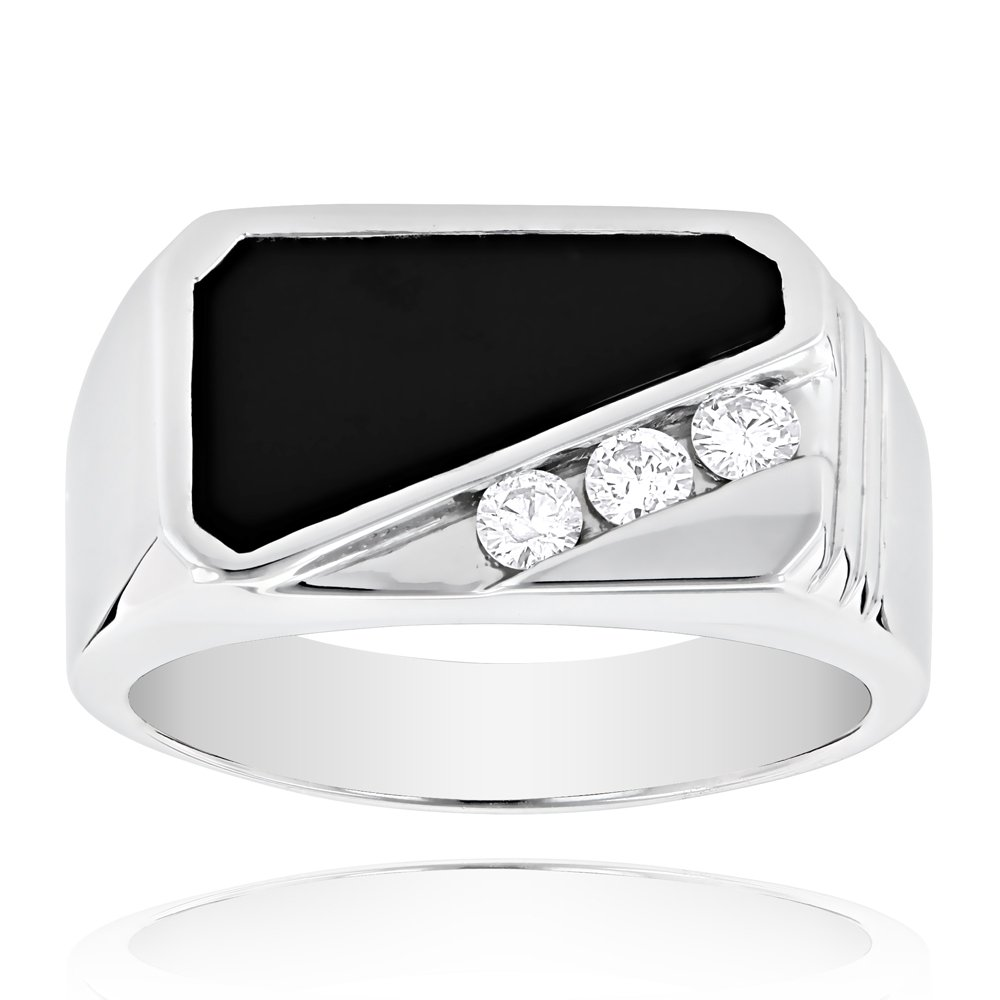 Luxurman 14K Men's Diamond Polished Onyx Ring For Him 0.3 Ctw (White Gold Size 12)