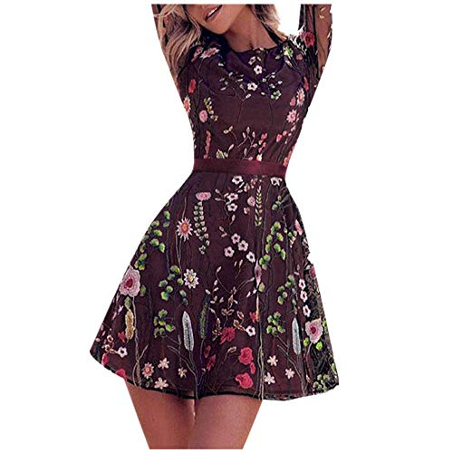 Price comparison product image Women's Floral Embroidered Lace Mesh Double Layer Dress,  Long Sleeve O-Neck Evening Party Mini Dresses (XXL,  Purple)