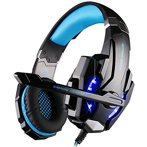 [Newer Version]VersionTech G9000 LED Surround Gaming Headphones Bass Stereo Headset with Mic for PS4 Games (Mac PC Computer Laptop Cell Phone Compatible Black and Blue) [並行輸入品] B075P73K5C