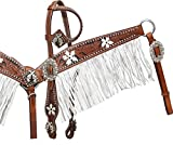Showman Leather Bridle, Breast Collar, and Split Reins Set with Black Inlay and White Painted Flowers and Gun Conchos