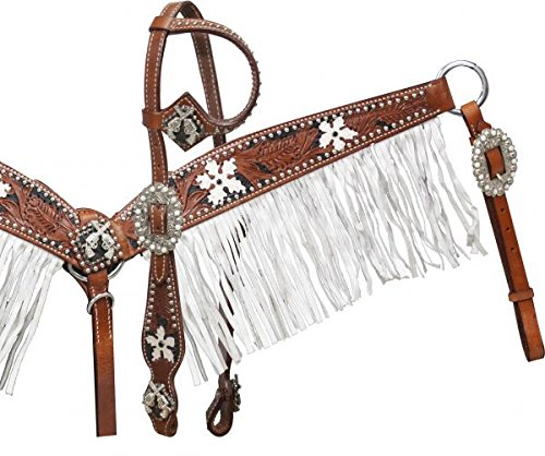 Showman Leather Bridle, Breast Collar, and Split Reins Set with Black Inlay and White Painted Flowers and Gun Conchos by Showman