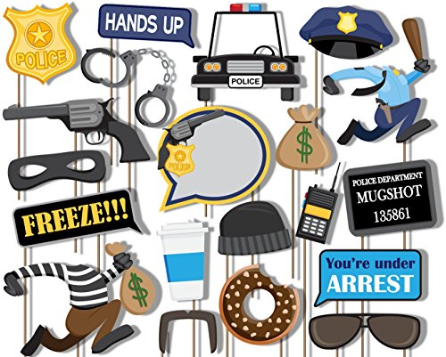 Birthday Galore Cops and Robbers Police Photo Booth Props Kit - 20 Pack Party Camera Props Fully (Nypd Decorations)