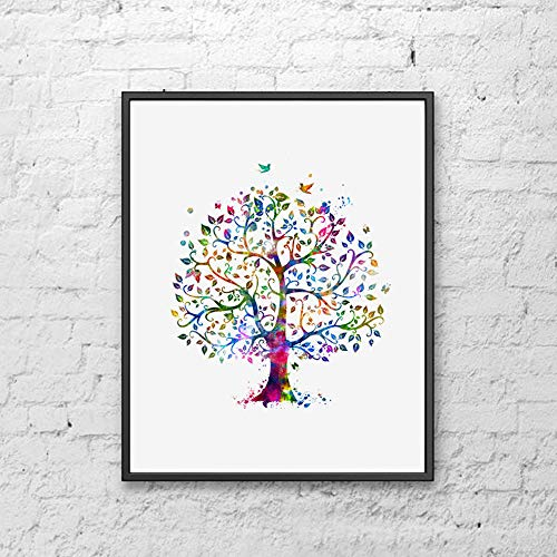 (Tree Art Print Watercolor Colorful Family Tree Art Paper Poster Great Gift for Bedroom Tree Watercolor Wall Decor 8x10 inch Unframed )