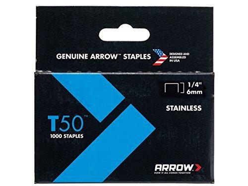 Arrow Fastener 504SS1 1/4'' T50 Stainless Steel Staples by Arrow Fastener