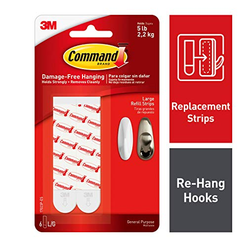 Command Replacement Strips, Re-Hang Indoor Hooks, White, 6-Strips (17023P-ES)