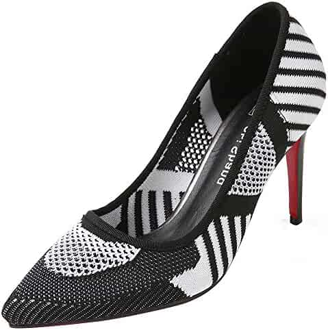 2a4e837a4588 Mofri Women  Classy Pointed Toe Pump - Knitted Patterned Low Cut Color Block  - Slip