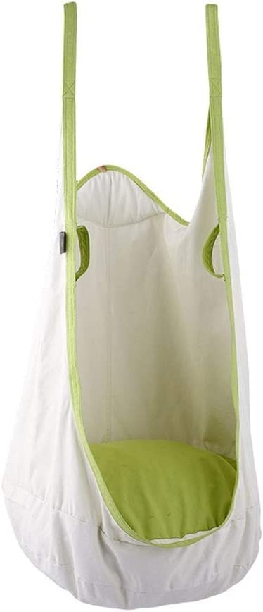 Unknow Silla de Hamaca oscilante para niños con Bolsillo y asa de Seguridad - Asiento Nido de algodón para niños para Interiores y Exteriores (Color: Blanco)