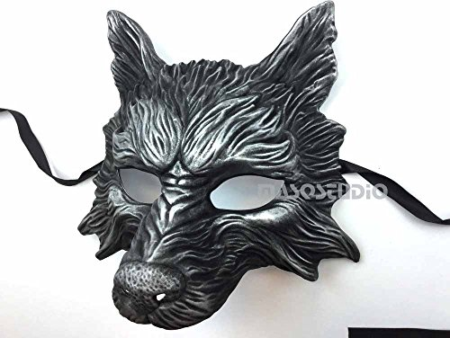 Masquerade Wolf Mask (Black Silver Wolf Mask Animal Masquerade Halloween Costume Cosplay Party mask)