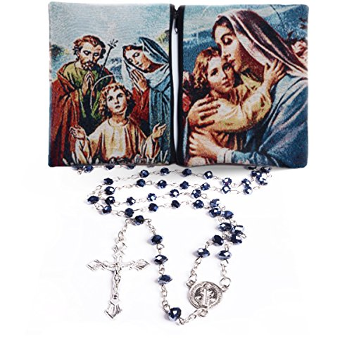 2 in 1 SET Rosary INCLUDED Rosary Case Pouch Deep Blue Sapphire Crystal Beads Rosary Catholic Necklace Medal & Crucifix