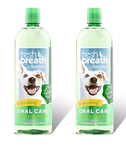 Tropiclean Fresh Breath Plaque Remover Pet Water Additive 33.8 Ounce - 2 Pack