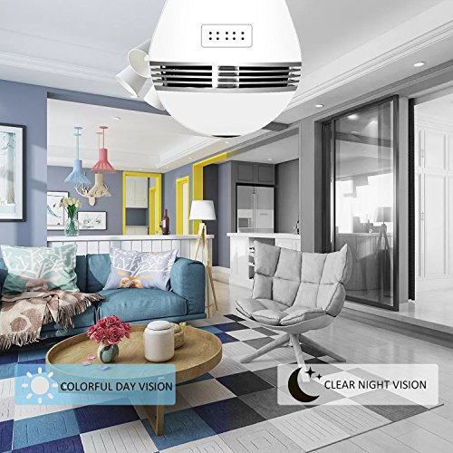 Light Bulb Camera VR Panoramic IP Wireless WiFi Camera Include 16GB TFCard with Cloud Store 360 Degree Fisheye Lens Lighting Lamp for Home Security Camera Bulb 960P HD E27 LED Dimmable Lamp by Looline (Image #3)