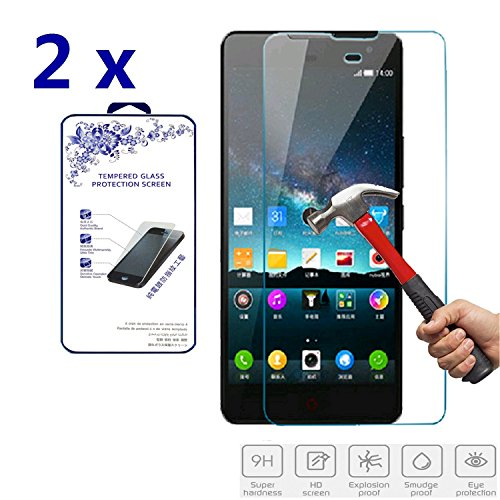 2x For ZTE Nubia Z7 Max Premium Ballistic Tempered Glass Screen Protector Hardness,Curved Edge,Anti-Scratch,Bubble Free,Retail Package [2 Pack] (For ZTE Nubia Z7 Max)
