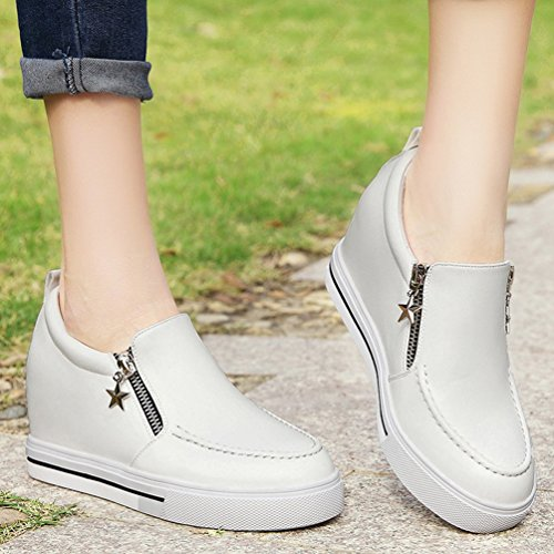 hot sale PerfectAZ On Sales Women Fashion Casual Zipper Increased Within Slip On Ankle Travel Loafer Shoes