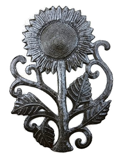 Garden Sunflower, Recycled Metal Art, Handcrafted in Haiti (Sunflower Metal Wall Art)