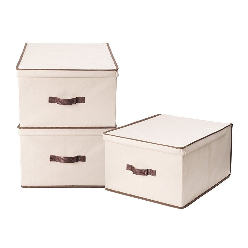 StorageManiac Foldable Natural polyester Canvas Storage Box, Convenient Storage Box with Lid (Medium) FBA_STM1306000002