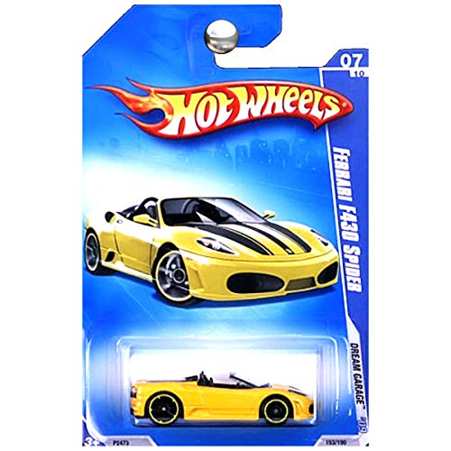 (Hot Wheels 2009 Ferrari F430 Spider (yellow) Dream Garage 153/190, 1:64 Scale.)